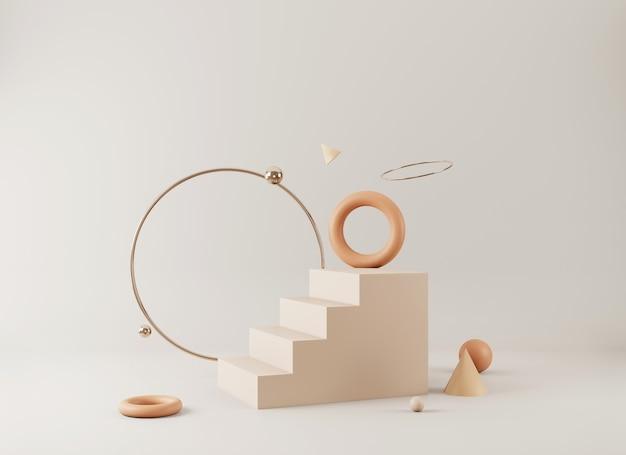 Abstrakte minimalszene mit geometrischen formen leere podiumsanzeige auf minimalem hintergrund design für 3d-rendering der produktpräsentation