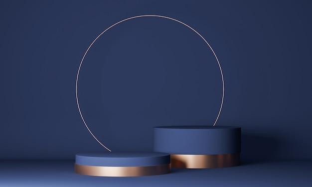 Abstrakte minimalszene mit geometrischen formen. zylinder blaues podium. produktpräsentation, modell