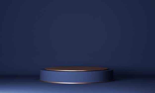 Abstrakte minimalszene mit zylinderblauem und goldenem podium. produktpräsentation, modell