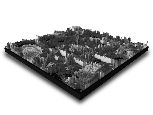 Abstrakte moderne 3d-landschaft mit extrudierenden würfeln
