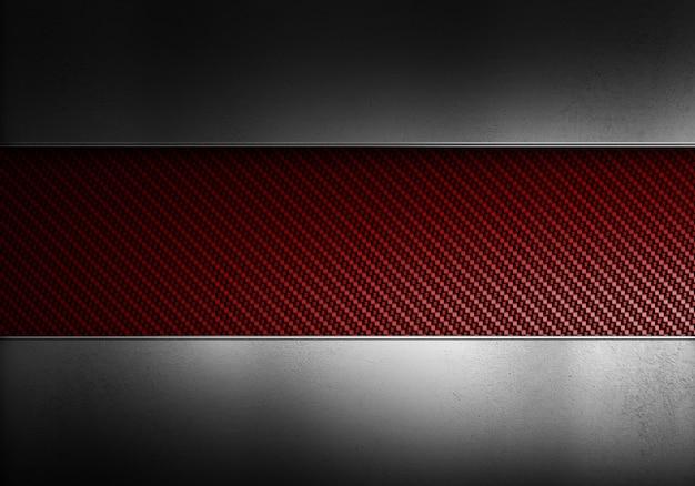 Abstrakte moderne rote kohlefaser mit polierten metallplatten. strukturiertes materialdesign für hintergrund, tapete, grafikdesign