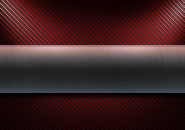 Abstrakte moderne rote kohlefaser mit polierter metallplatte in der mitte