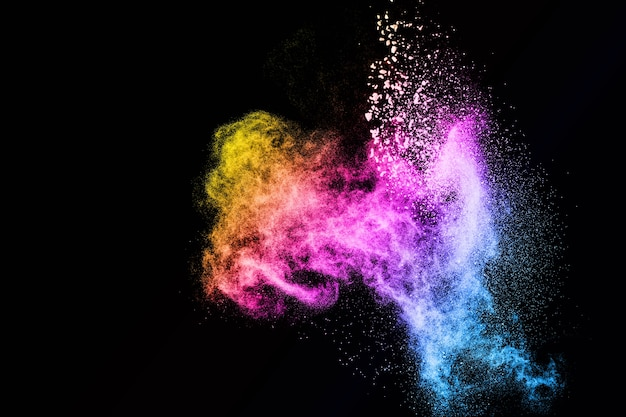 Abstrakte multi farbpulverexplosion.