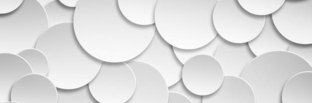 Abstrakte nahtlose papierkreisfahne mit schlagschattenhintergrund in der fahnenabdeckungsgröße.