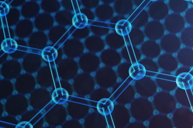Abstrakte nanotechnologie hexagonale geometrische form nahaufnahme, konzept graphen atomstruktur, konzept graphen molekülstruktur. wissenschaftliches konzept, 3d-illustration