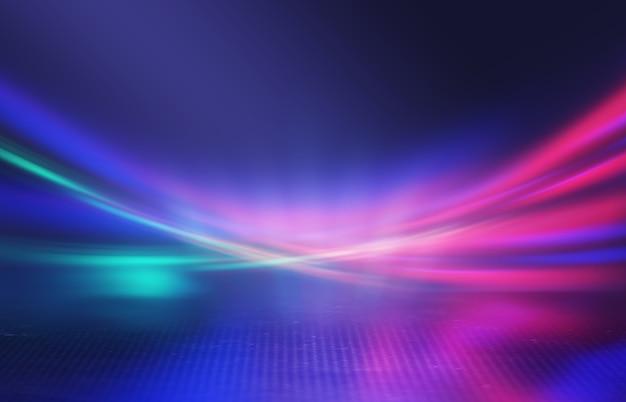 Abstrakte neonlichtstrahlen auf dunklem hintergrund lichteffektlaser zeigen oberflächenreflexion