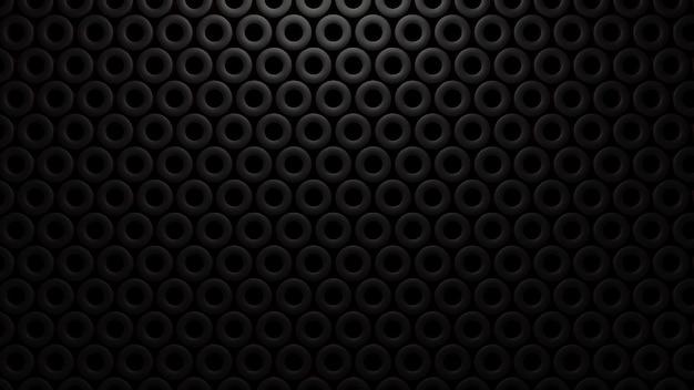 Abstrakte oberfläche von schwarzen zylindern