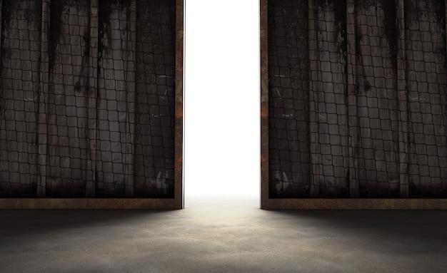 Abstrakte öffnung in der wand mit hellem tageslicht im betoninnenraum. forschungskonzept. 3d-rendering