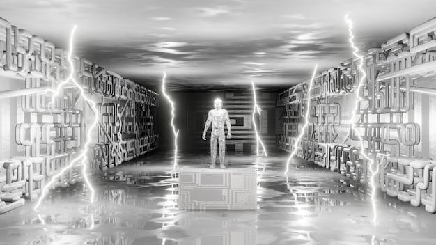 Abstrakte person des innenraums der sci-fi auf podium