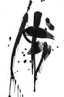 Abstrakte pinselanschläge und spritzt von der farbe auf weißbuch