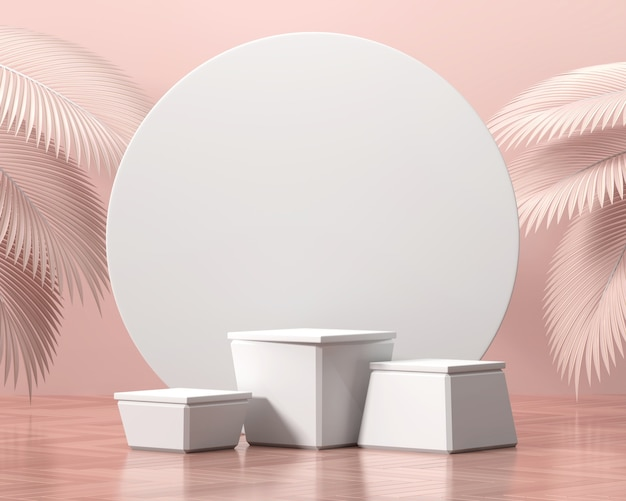 Abstrakte plattform-podiumsvitrine für produktpräsentation mit palmblatt-3d-rendering