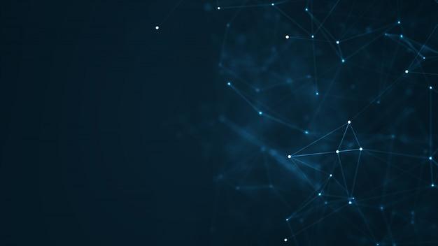 Abstrakte plexus-blaue geometrische formen. verbindung und web-konzept.