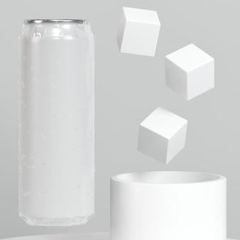 Abstrakte pop-top-dosenpräsentation mit zuckerwürfeln