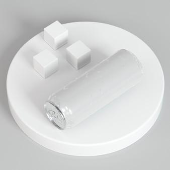 Abstrakte pop-top-soda-behälter-präsentation mit zuckerwürfeln