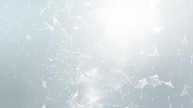 Abstrakte punkt- und verbindungslinie für futuristisches und network connection konzept der cybertechnologie mit dunkelheit und korn verarbeitete breitbildverhältnis