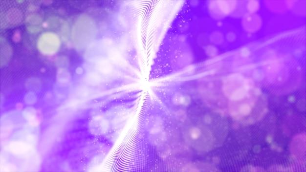 Abstrakte purpurrote farbdigitale partikel bewegen mit bokeh hintergrund wellenartig