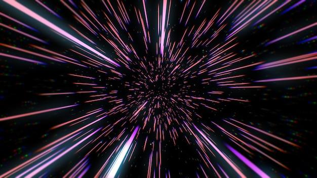 Abstrakte retro-farbe der warp- oder hyperraumbewegung in der blauen sternspur 3d illustration