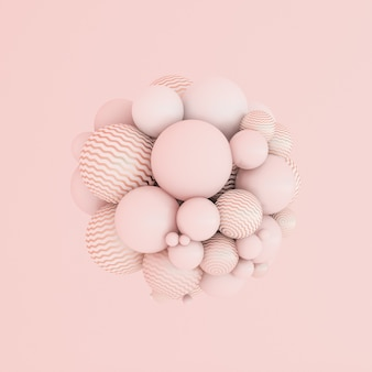 Abstrakte rosa hintergrundminimalismuspartikel 3d illustration
