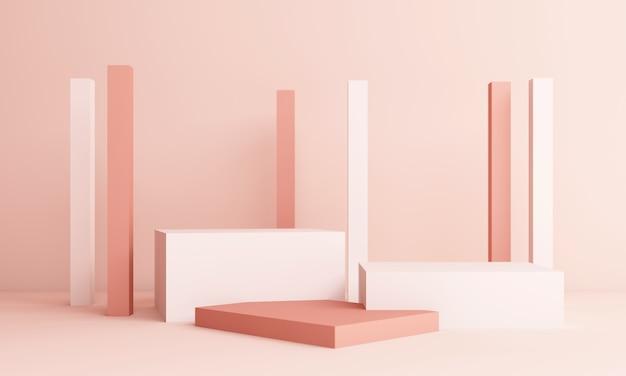 Abstrakte rosa komposition mit podium. minimales studio mit rundem sockel und kopierraum, pastell mit geometrischer form, 3d-rendering