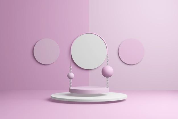 Abstrakte rosa produktszene. pastellroter präsentationsvorlagenkopierraum, minimale geometrische formen. 3d-rendering