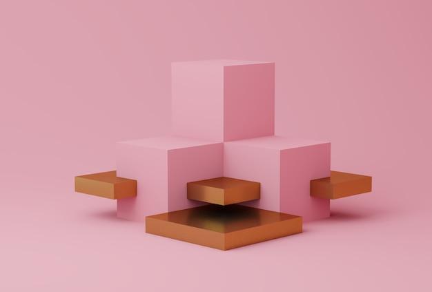 Abstrakte rosa und goldfarbszene mit geometrischen formen