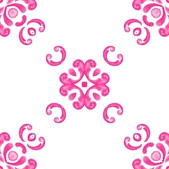 Abstrakte rosa und weiße hand gezeichnete fliese nahtloses dekoratives aquarellfarbenmuster