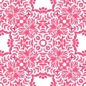 Abstrakte rosa und weiße handgezeichnete fliese nahtlose dekorative aquarellfarbe muster. elegante luxustextur für stoffe und tapeten, hintergründe und seitenfüllung.