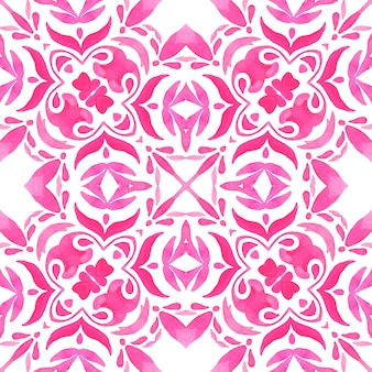 Abstrakte rosa und weiße handgezeichnete fliese nahtlose dekorative aquarellfarbenmuster