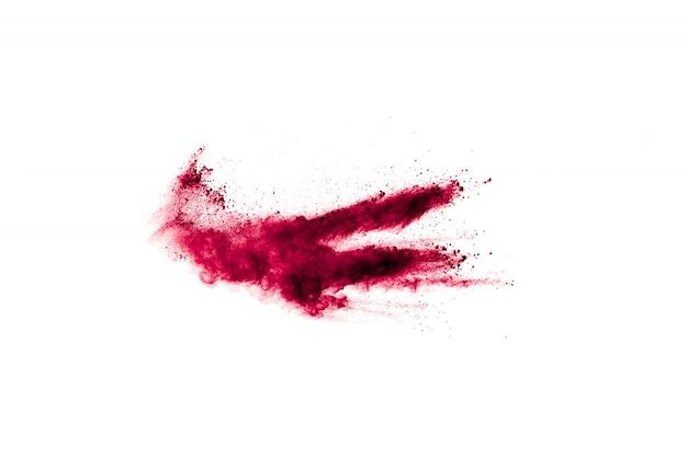 Abstrakte rote staubexplosion auf weiß