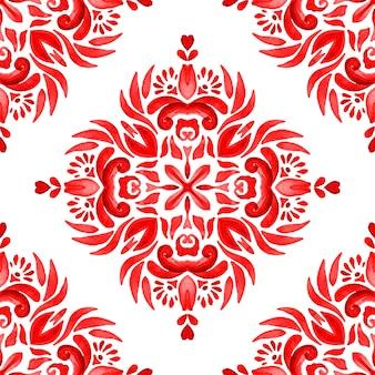 Abstrakte rote und weiße handgezeichnete aquarellfliesen nahtloses ziermuster