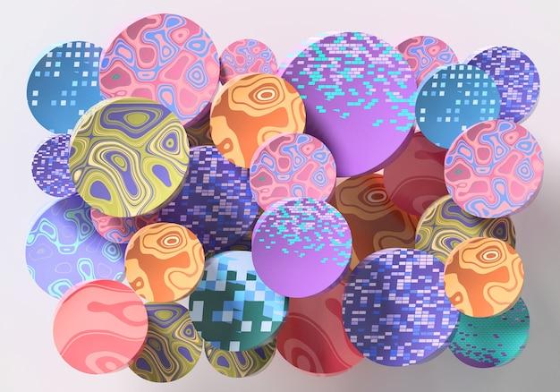 Abstrakte runde form bunter hintergrund 3d-rendering