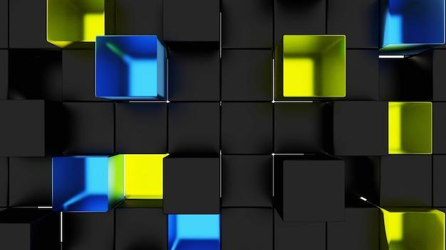 Abstrakte schwarz-gelb-blaue acrylwürfel-tapete, die leicht zu 3drendering herunterlädt