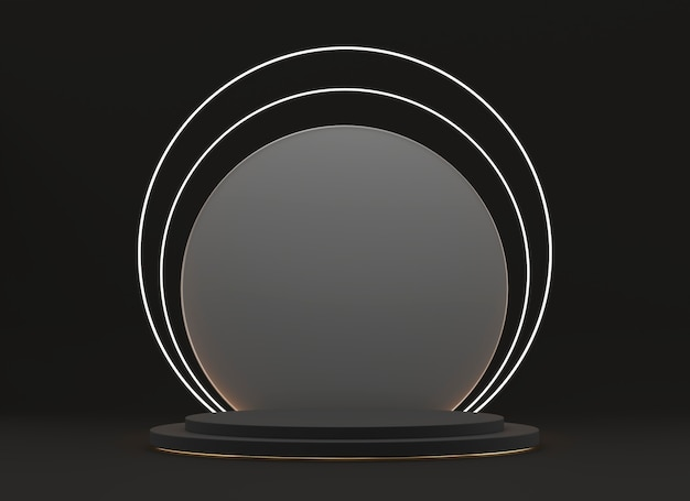 Abstrakte schwarze bühnenplattform, vorlage für werbeprodukt, 3d-rendering.