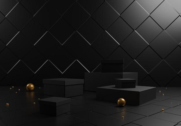Abstrakte schwarze geschenkboxen und podium mit goldenen kugeln auf schwarzem hintergrund.