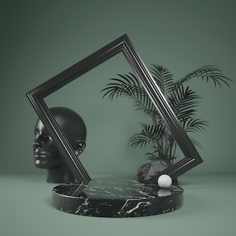 Abstrakte schwarze marmorbühne des podiums für showprodukt mit schwarzem rahmen und blattpalme, 3d illustration