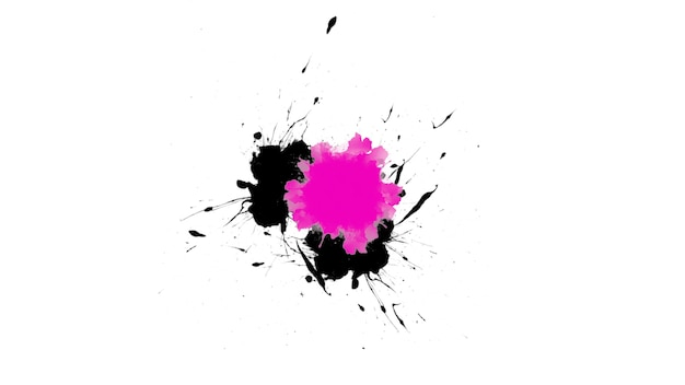 Abstrakte schwarze und rosafarbene stelle der bewegung und spritzer, bunter schmutzhintergrund. eleganter und luxuriöser 3d-illustrationsstil für hipster- und aquarellvorlagen