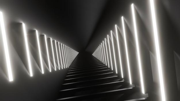 Abstrakte schwarze weiße neonhintergrundillustration der 3d-wiedergabe