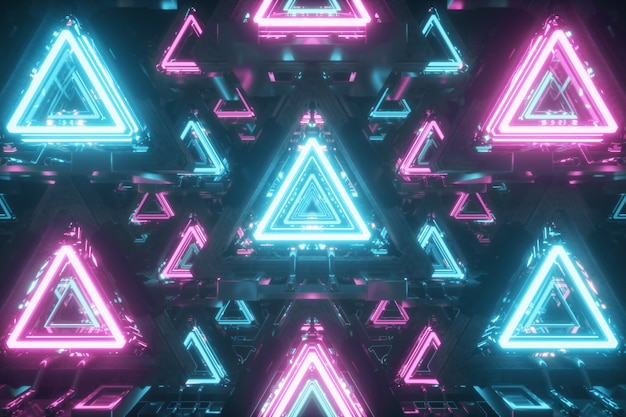 Abstrakte schwebende dreiecke mit neonlichtern
