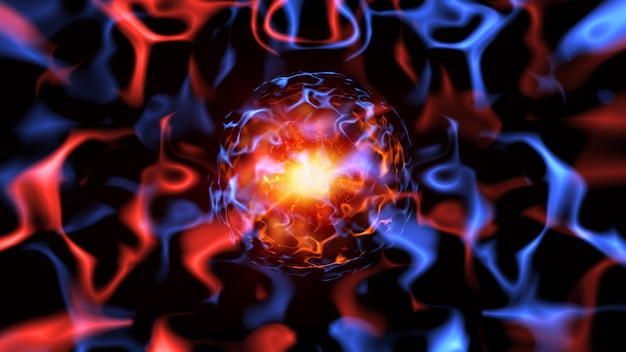 Abstrakte sci-fi-wissenschaftstechnologie blaue und rote plasmastrahlen