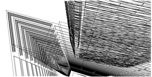 Abstrakte skizze, architektur, konstruktion, drahtmodell