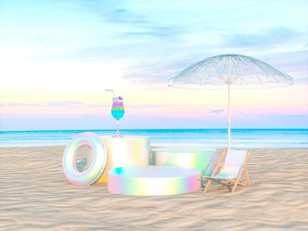 Abstrakte sommerstrandszene mit einem podiumshintergrund