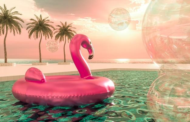 Abstrakte sommerstrandszene mit rosa flamingo im schwimmbadhintergrund