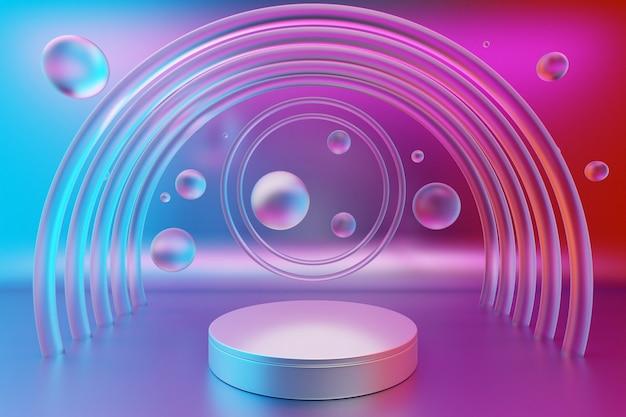 Abstrakte szene der 3d-illustration mit rundem stand und transparenten wasserblasen