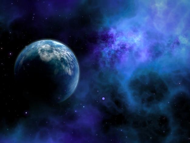 Abstrakte szene des raumes 3d mit fiktivem planeten