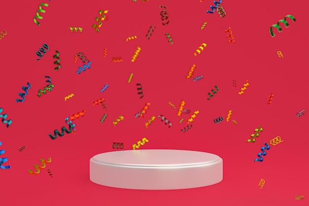 Abstrakte szene roter hintergrund 3d-rendering mit weißem podium, konfetti und mehrfarbigen bändern für festival