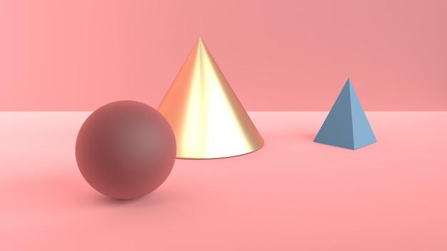 Abstrakte szene von geometrischen formen. goldener kegel, blaue pyramide und burgunder-braune kugel. weiches diffuses licht in einer puderigen rosa 3d-szene