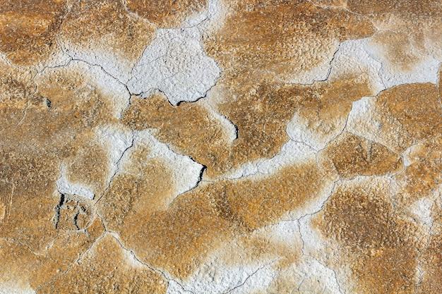 Abstrakte textur der getrockneten rissigen verbrannten erde. globale erwärmung und wassermangel auf dem planetenkonzept. erstarrte braune erdoberfläche für den hintergrund oder das grafikdesign.