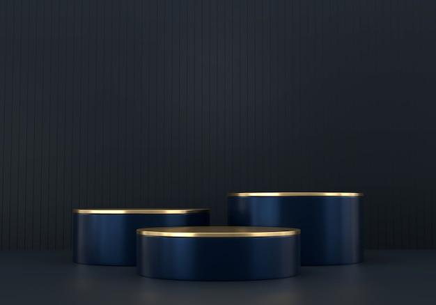 Abstrakte tiefblaue bühnenplattform für werbeproduktanzeige, 3d-rendering.