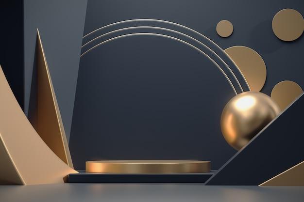 Abstrakte tiefblaue und goldene bühnenplattform für die 3d-rendering-werbung der produktanzeige