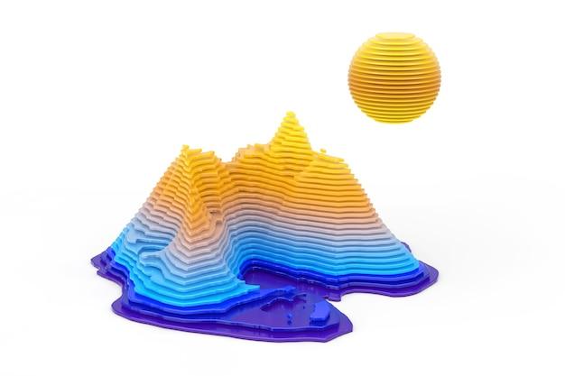 Abstrakte topologische landschaftsschichten schneiden stilszene mit sonne, berg und meer auf weißem hintergrund. 3d-rendering